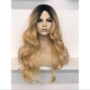 """30"""" Side Part Golden Blonde Wavy Wig   Ariana"""